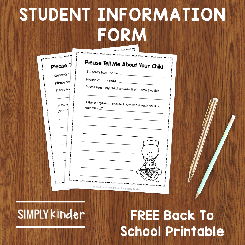 Students Information Form: A FREE Back To School Printable