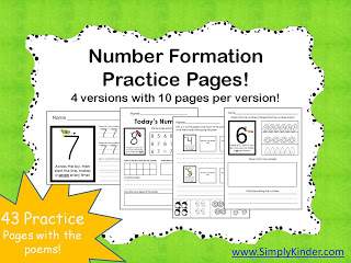 Number Formation Poems Practice Pages!