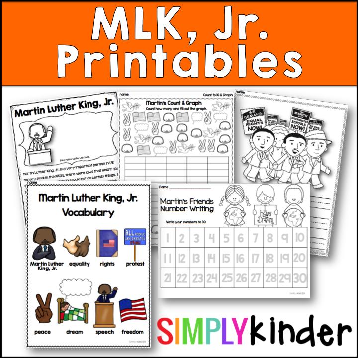 Kindergarten Martin Luther King Jr Printables