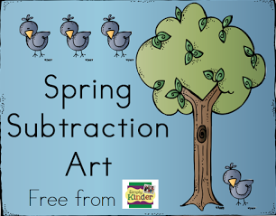 Subtraction Activity for Kinder, Subtraction Art, Math Center, Kindergarten, Simply Kinder