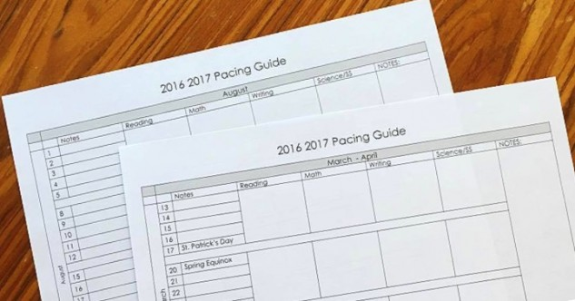 Free Pacing Guide for Any Grade Level