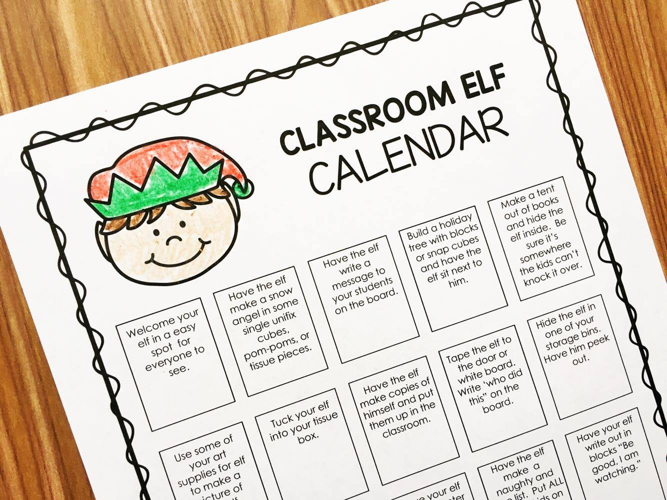 An editable elf calendar and student journal for your classroom elf.