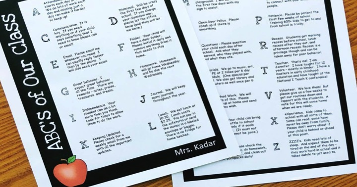 ABC's of Your Class Free Letter for Parents from Simply Kinder
