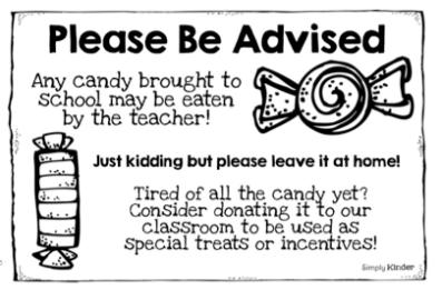 Trick & Treat Blog Hop – No Candy At School