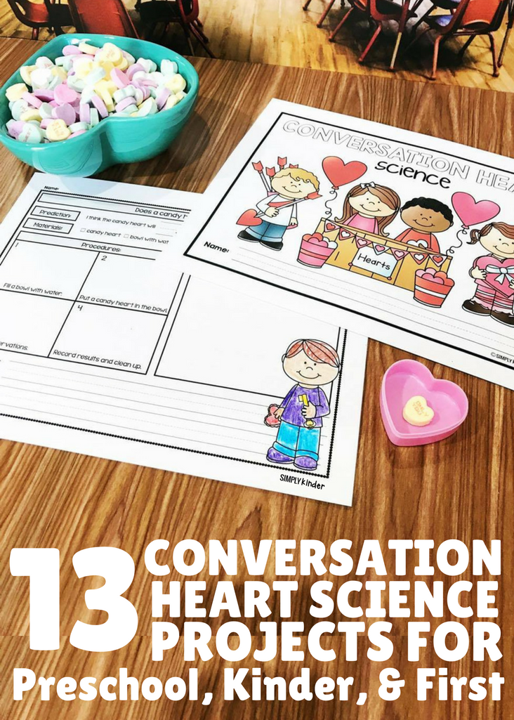 13 Conversation Heart Science Experiments for Kids. Activities are appropriate for preschool, kindergarten, and first grade students.