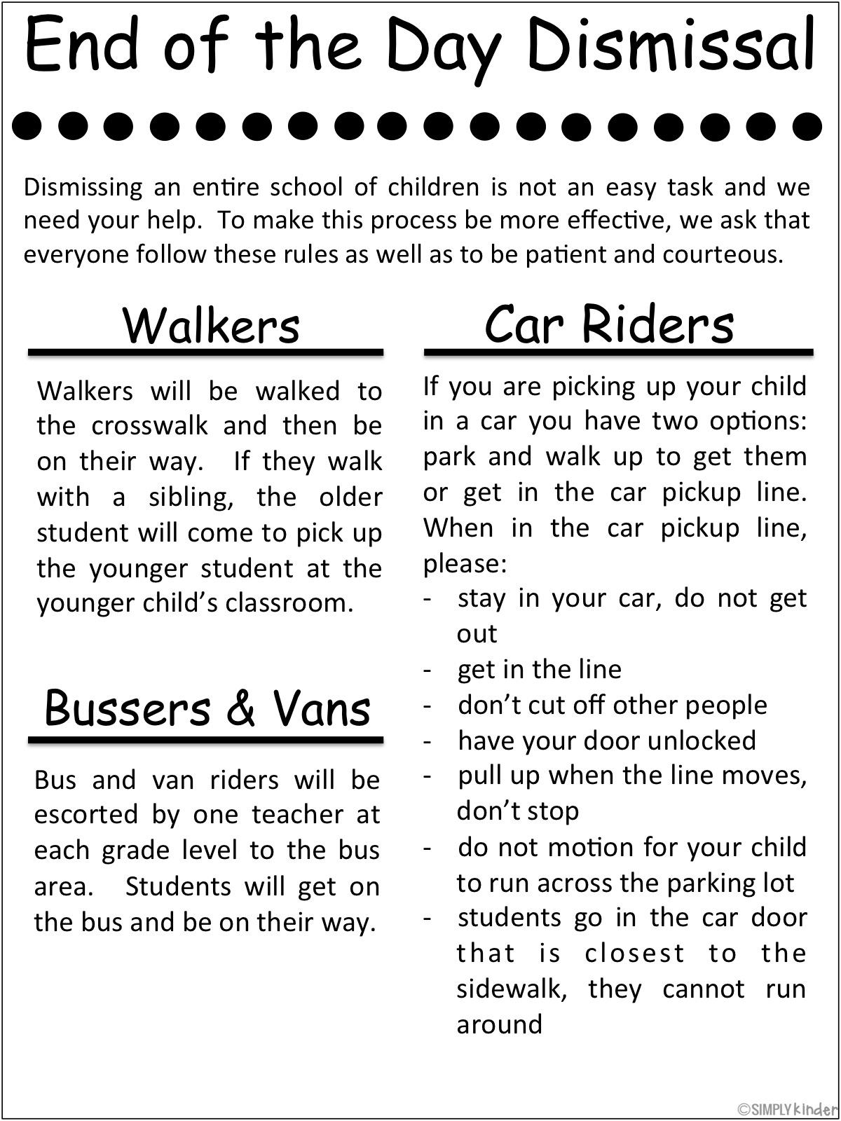 "Free dismissal printable from Simply Kinder.  Explain to your families the procedures at your school!  And read all about the ""Unwritten Rules of Car Dismissal."""