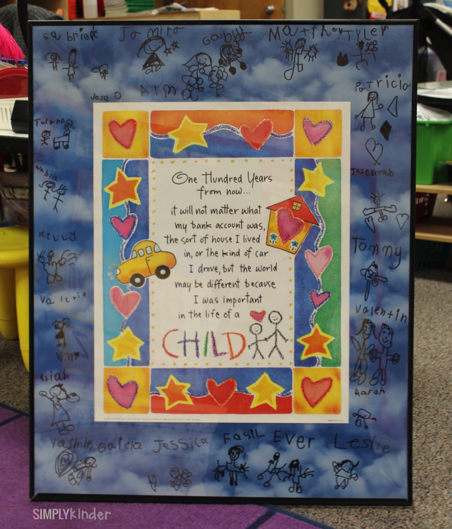 Great thank you gift for a volunteer or student teacher. Students all sign around a poster and draw self portraits!