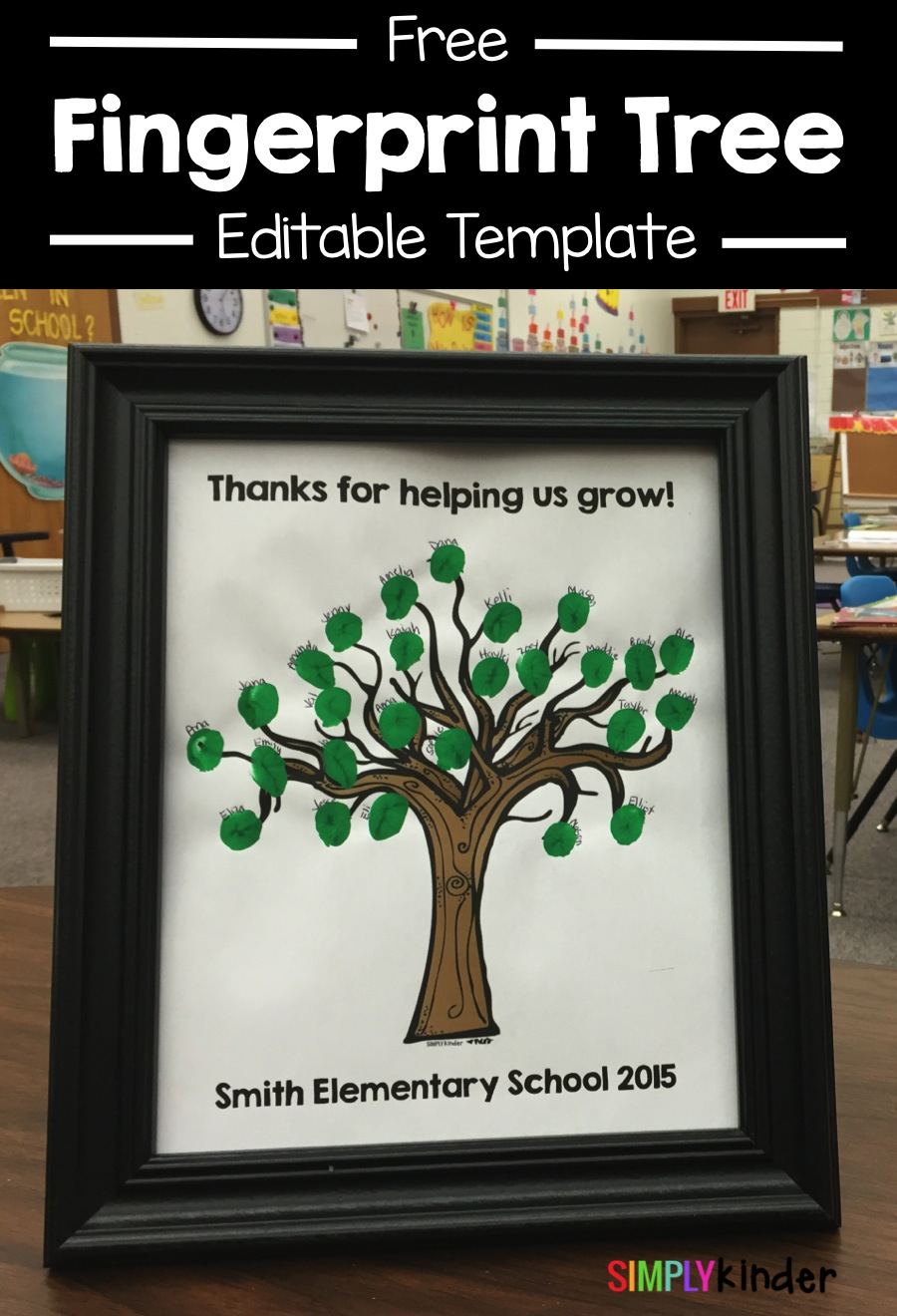Free editable Finger Print Tree gift for volunteers or student teachers!