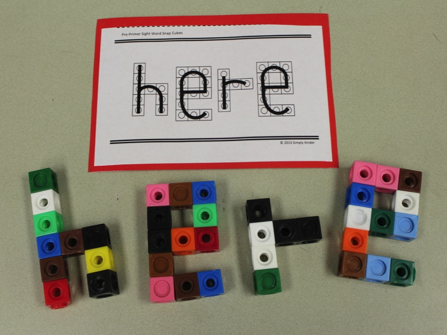 Now sure what to do with snap cubes?  Turn them into sight words!  Check out other tips for teaching sight words at Simply Kinder!
