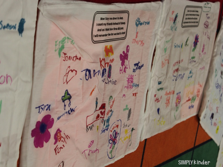 End of year pillowcases that the students sign!