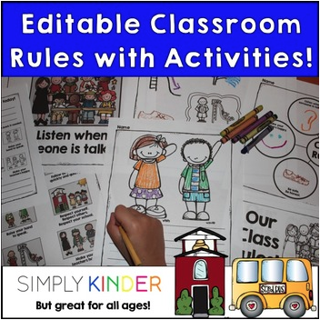 Rules from Simply Kinder. Editable download where you can customize the rules for your room. Also includes activities such as graphic organizers, writing pages (for each rule), and an emergent reader.