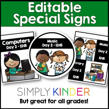 Editable Specials Signs from Simply Kinder!