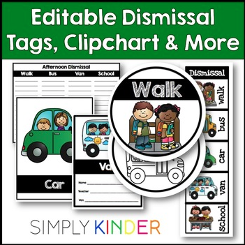 Editable Dismissal Tags from Simply Kinder!
