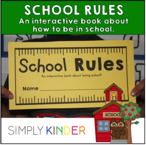 School Rules Interactive Book goes over everything from listening and following directions to not picking your nose! Each page has a simple interactive activity to reinforce the concept! Great little book for kindergarten or preschool students for back to school!