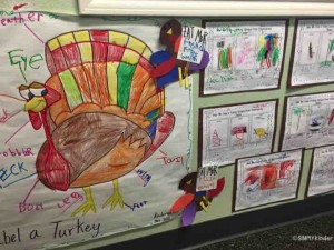 Great turkey anchor chart. Love how she has the students write on the labels and has them color in the turkey! Adorable turkey projects too holding picket signs!