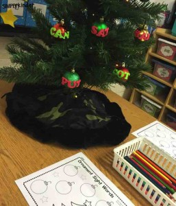 Sight word ornament writing activity from Simply Kinder.