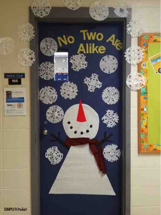 No Two Snowflakes are ever the same! Great snowman door for the winter!