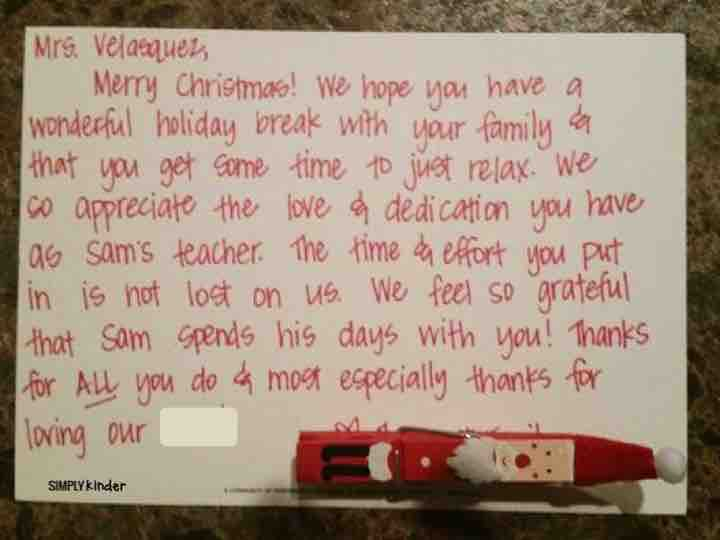 A heartfelt not from a parent to a teacher during the holidays!
