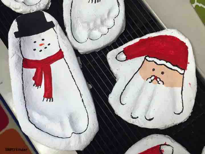 Salt Dough Snowmen footprint and Santa handprints will make an AMAZING keepsake for your students to give their families as gifts!
