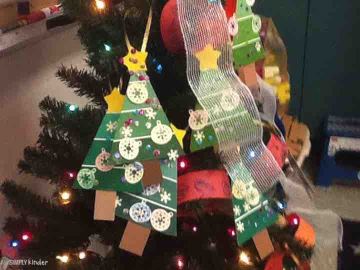 Paint chip Christmas Tree Ornaments make an easy and fun holiday gift for your students to give their families!