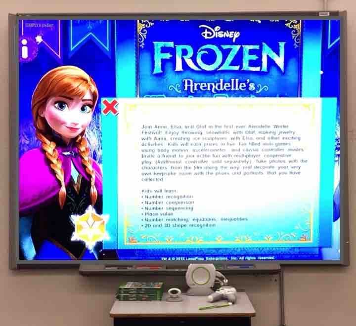 LeapFrog Frozen game has kids working on numbers, shapes, and much more! Students will complete the tasks and then help Olaf sled down a hill.