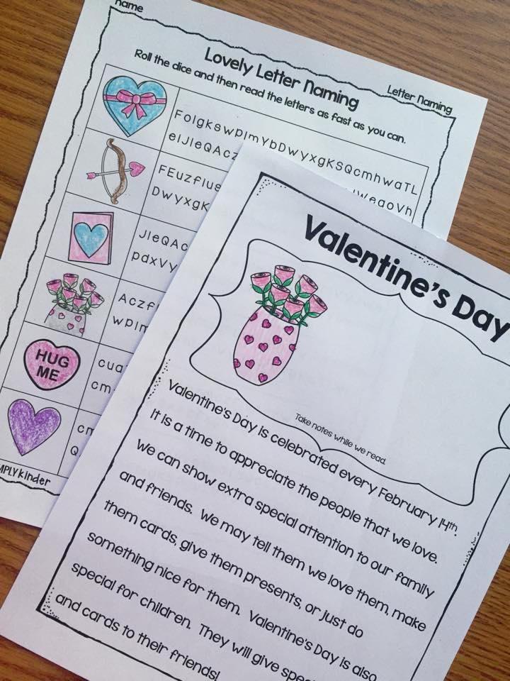 Valentintes Printables for Kindergarten