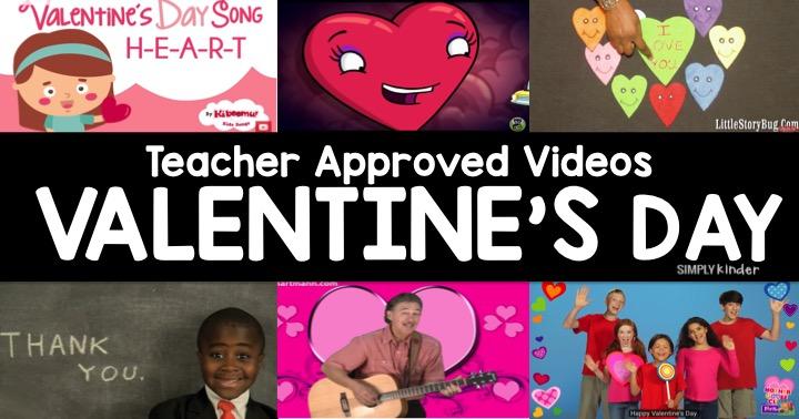 Teacher approved list of Valentine's Day videos for preschool, kindergarten, and first grade.