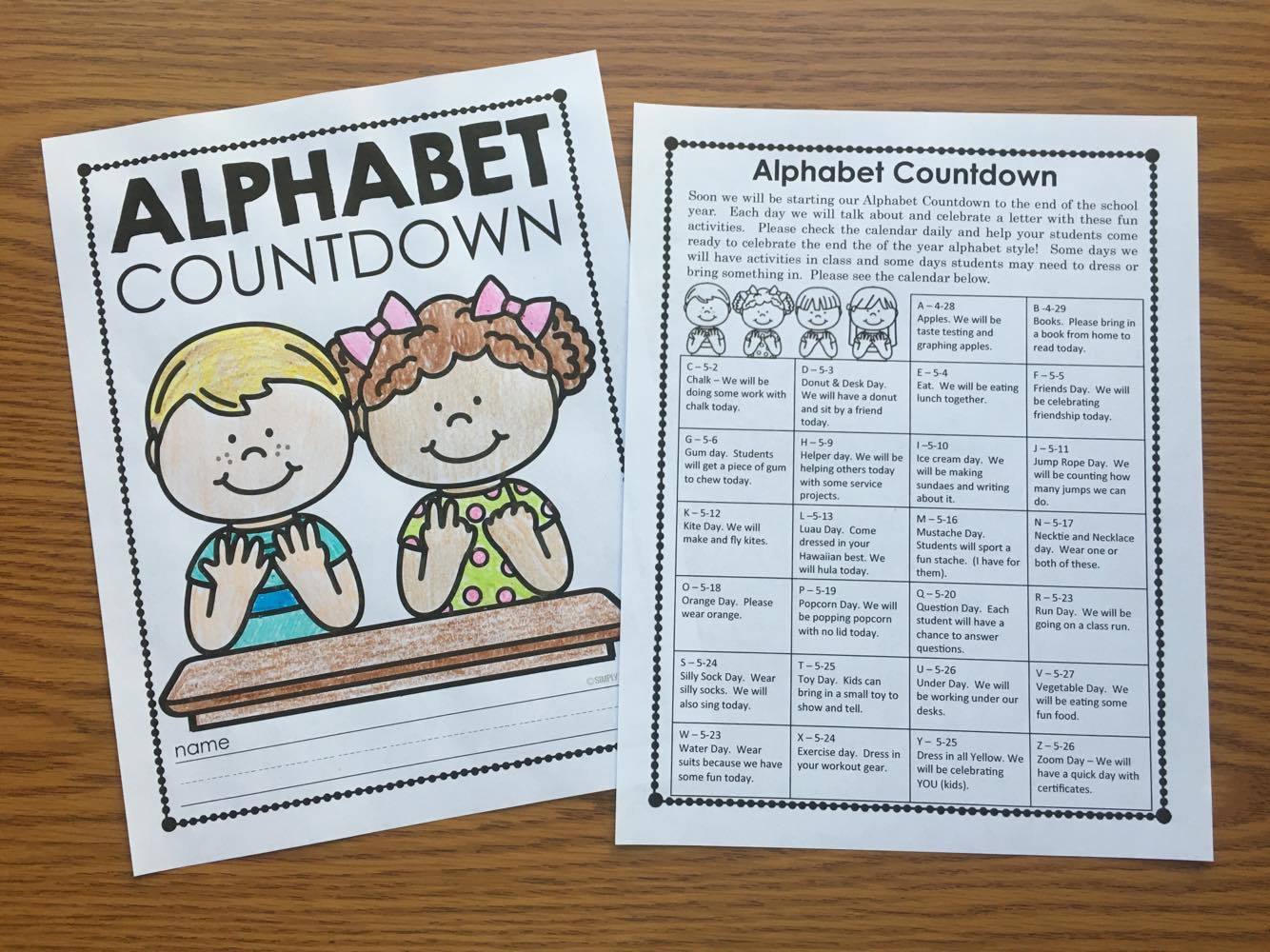 Alphabet Countdown Activities