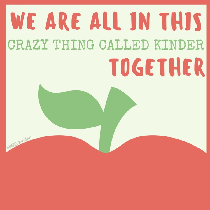 We are all in this crazy thing called kinder together.
