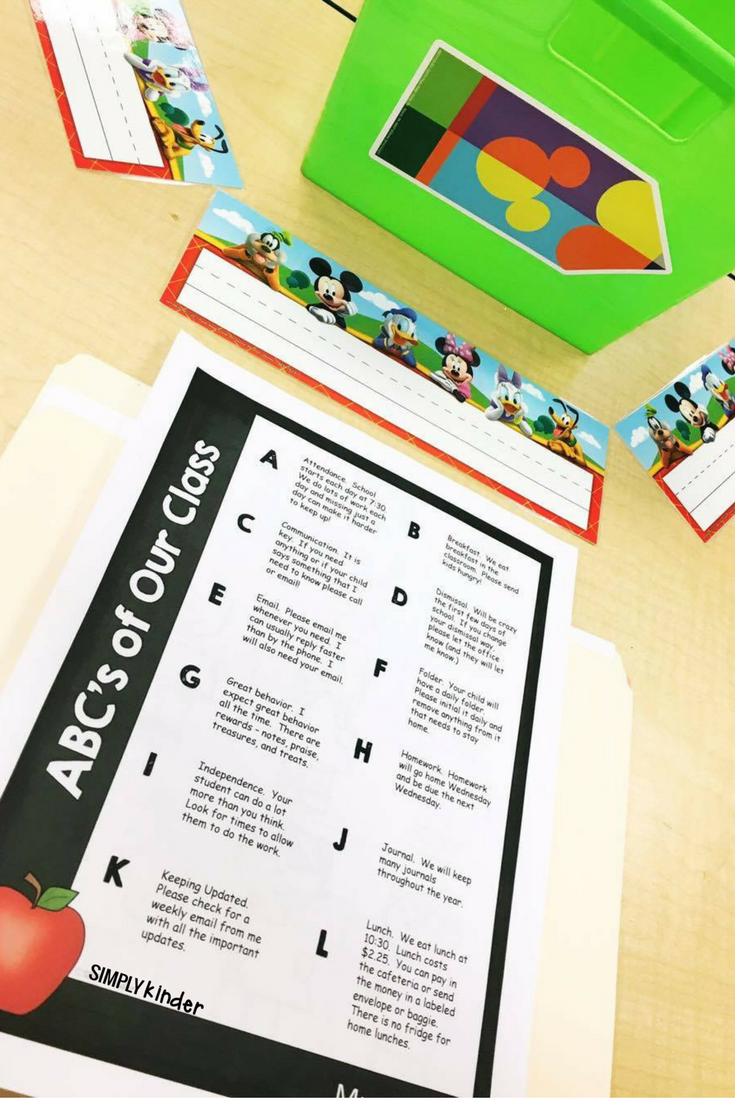 Disney Classroom Makeover: Student desks for meet the teacher night with free ABC's of Your Classroom free printable.
