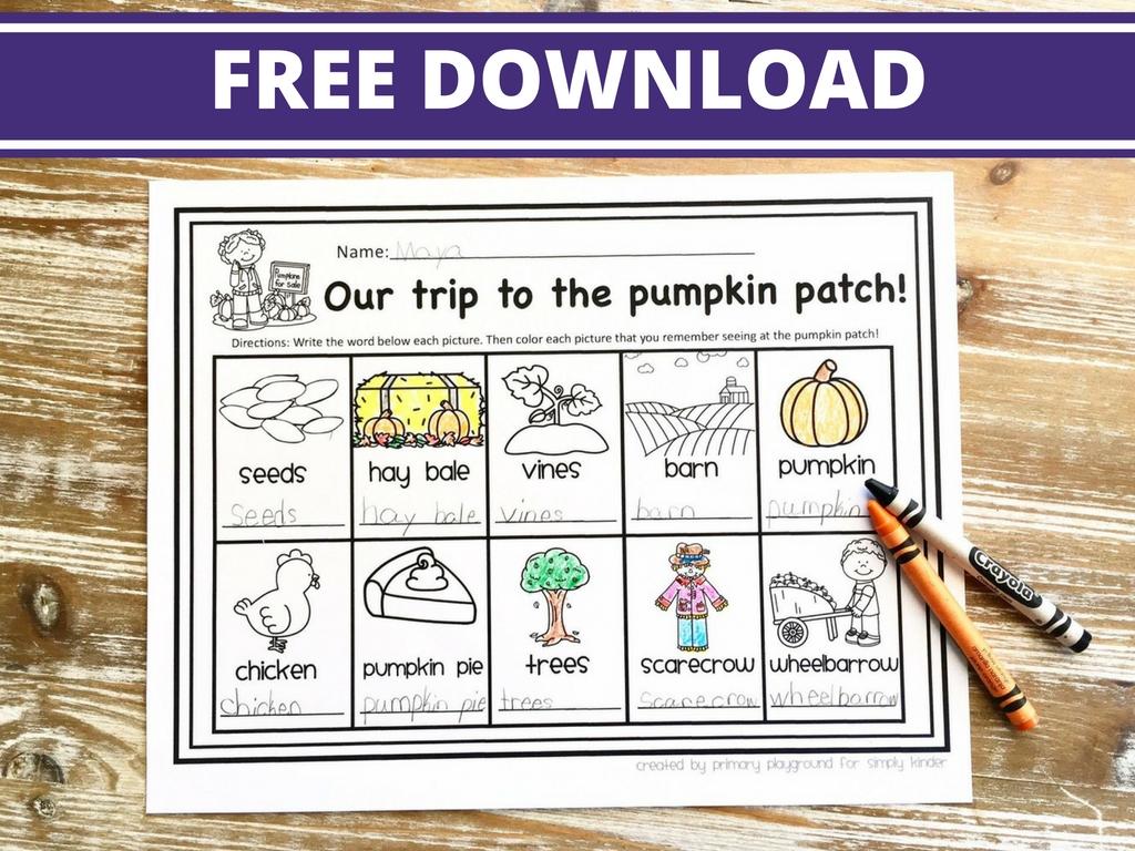 Pumpkin Patch Field Trip Freebie