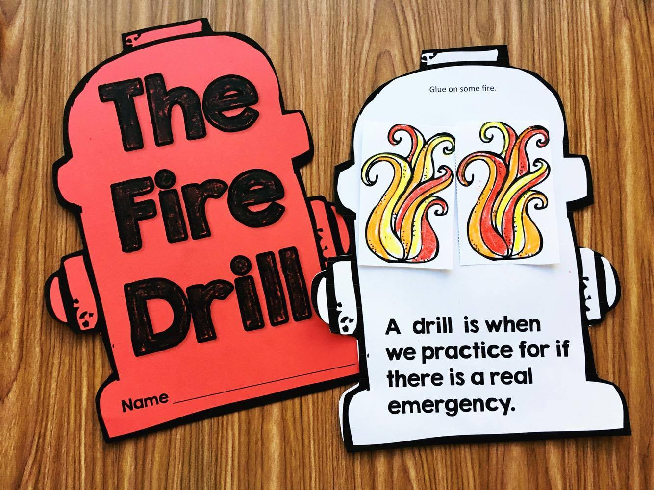 Fire Drill Book for Kindergarten , Preschool, and First Grade.  Great for back to school, fire safety week, and your community helpers unit.