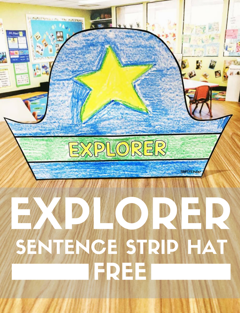 Free Explorer hats great for teaching Columbus Day in Kindergarten