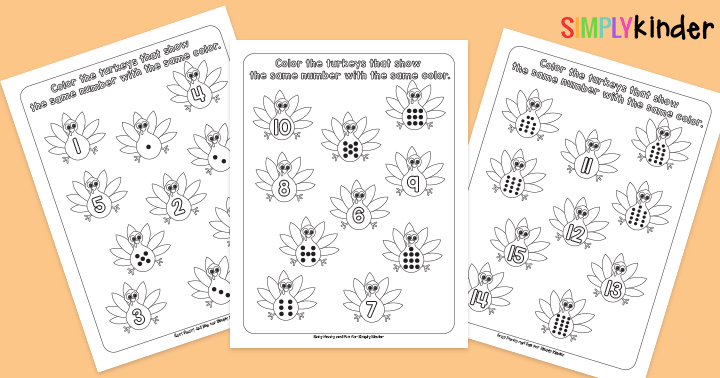 Turkey Count Learning Printables