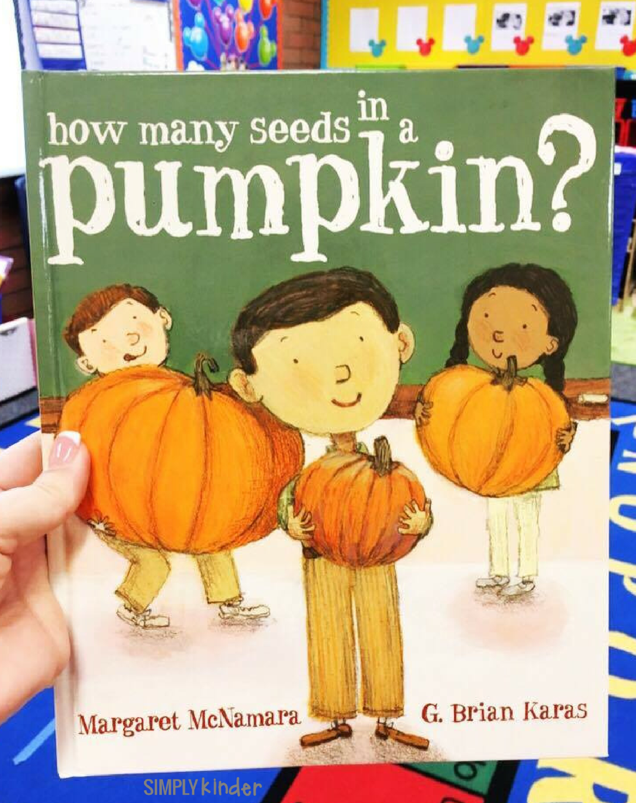 How Many Seeds in a Pumpkin book with free printable to help kinders count pumpkin seeds.