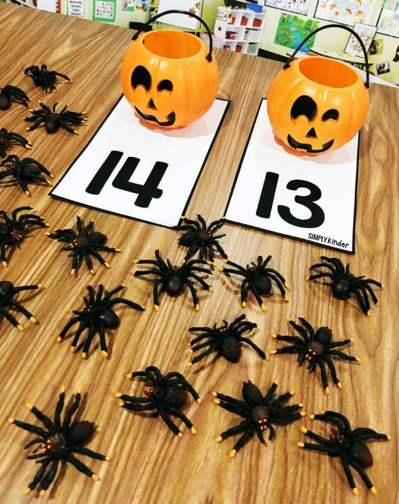 Free mats for counting spiders into pumpkin cups!