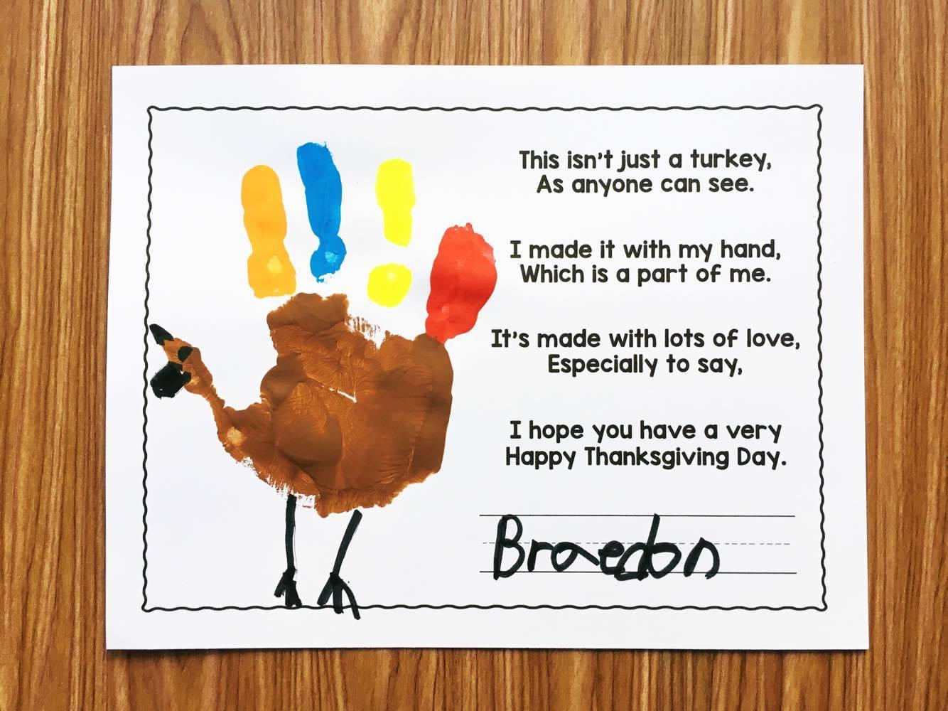 Free Turkey Handprint Poem Simply Kinder