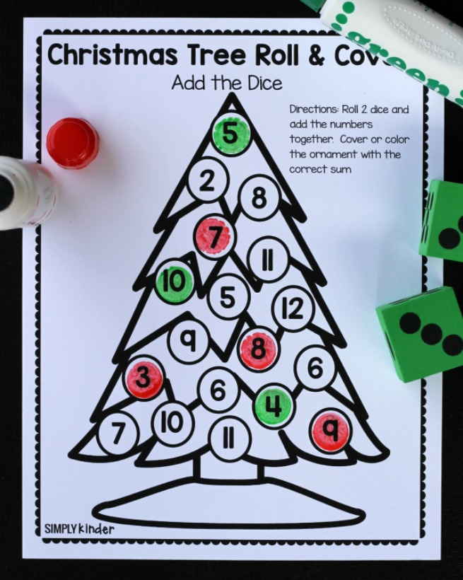Christmas Tree Roll and Cover Free Math Game from Simply Kinder