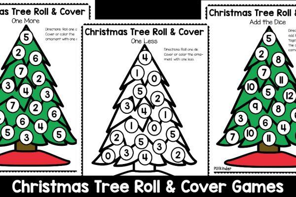 Christmas Tree Roll & Cover Christmas Math Games