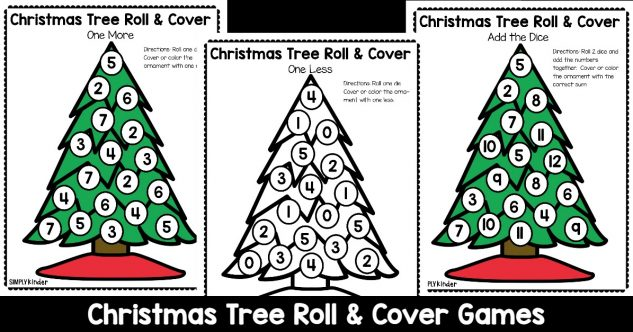 Christmas Tree Roll & Cover Christmas Math Games