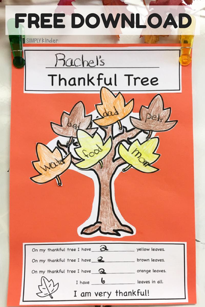 Thankful Tree Free Printable Simply Kinder
