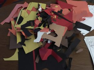 Using scraps for art projects.