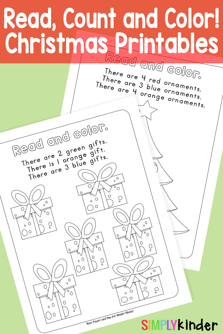 Read Count and Color Christmas Printables