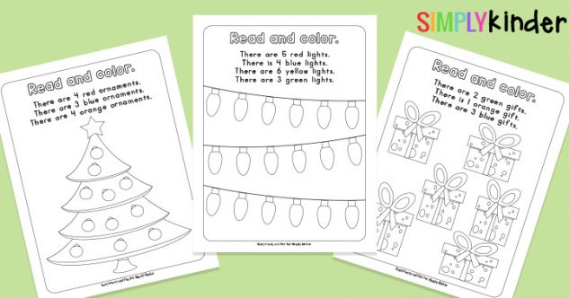 Read, Count and Color Christmas Printables