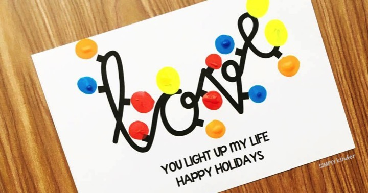 Free Love Card with Christmas Lights for Christmas and Valentine's Day.
