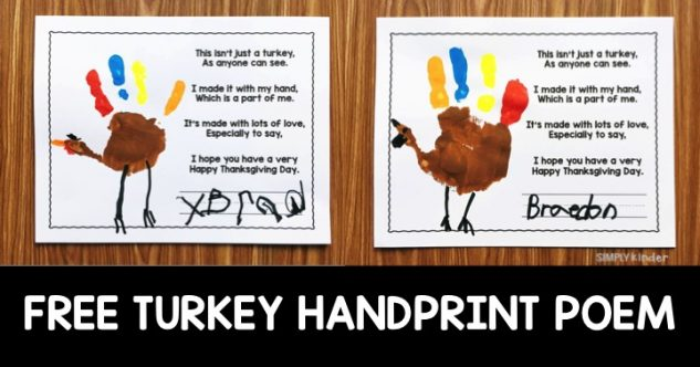 Free Turkey Handprint Poem