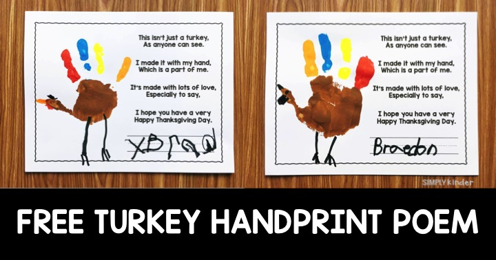 Free Turkey Handprint Poem