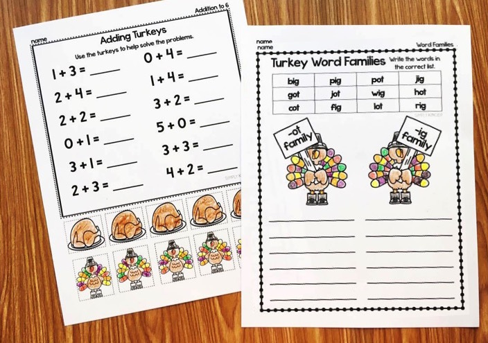 Thanksgiving Printables for Kindergarten. Literacy and Math activities with a Thanksgiving theme.