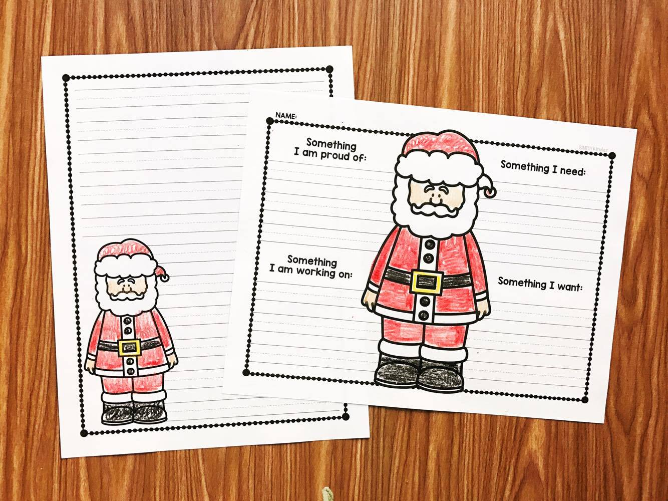 Free letter to Santa to use in preschool, kindergarten, and first grades.