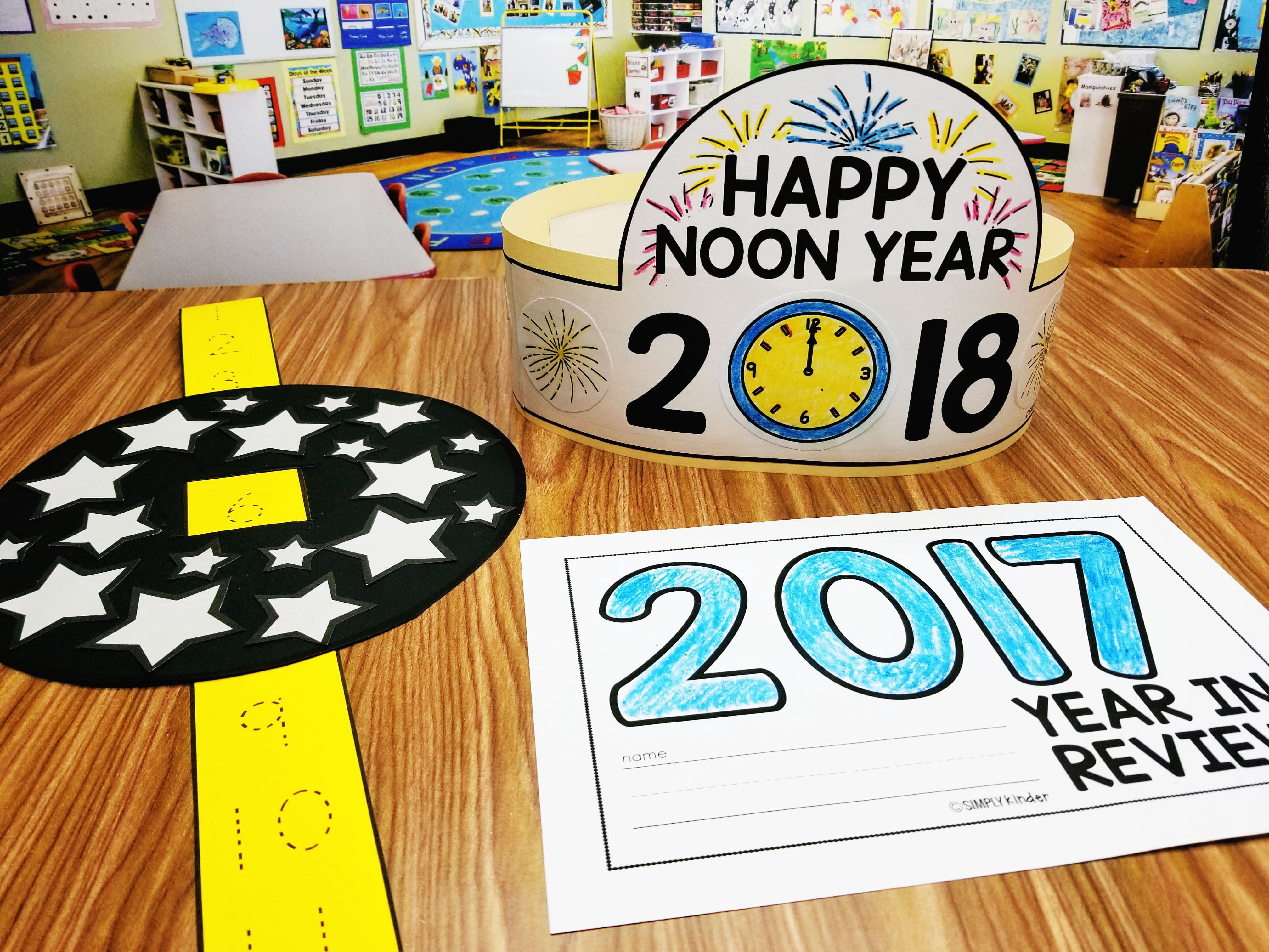 Celebrate New Years with your students by having a Noon Years Celebration! Students will love this New Year Hat, Countdown Ball, and themed academic activities! They will also set goals and reflect!